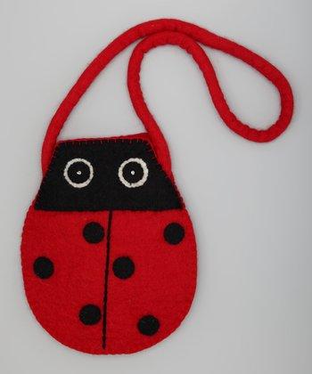 Red & Black Ladybug Wool-Blend Shoulder Bag