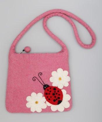 Pink Ladybug Wool-Blend Shoulder Bag