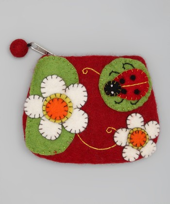 Red & Green Ladybug Wool-Blend Coin Purse