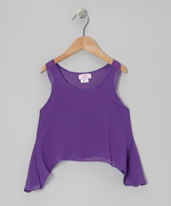 Purple Chiffon Sidetail Top - Toddler & Girls