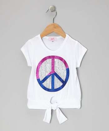 White Peace Rhinestone Tie Top - Toddler & Girls