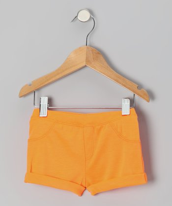 Neon Orange Roll-Up Shorts - Infant, Toddler & Girls