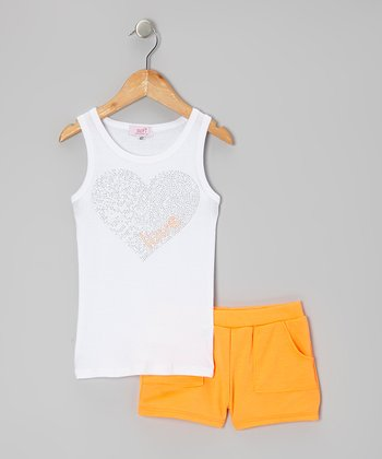 White & Orange Heart Tank & Shorts - Toddler & Girls
