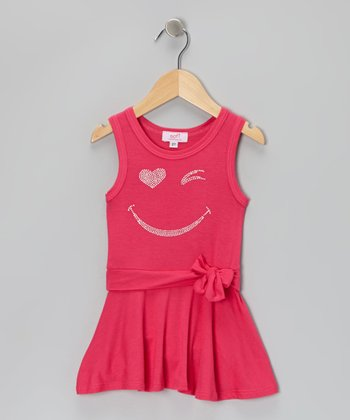 Fuchsia Smiley Rhinestone Tie Dress - Toddler & Girls