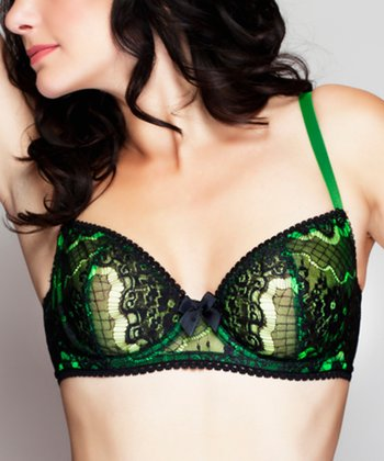 Neon Green En Dentelle Intense Unlined Demi Bra