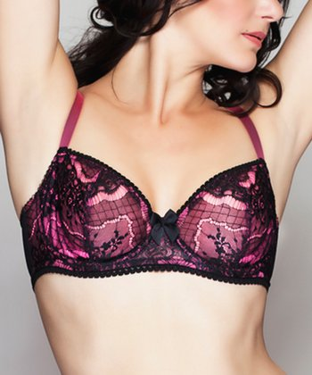 Neon Pink En Dentelle Intense Unlined Demi Bra