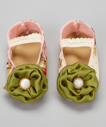 Green & Pink Summer Rose Flat - Kids