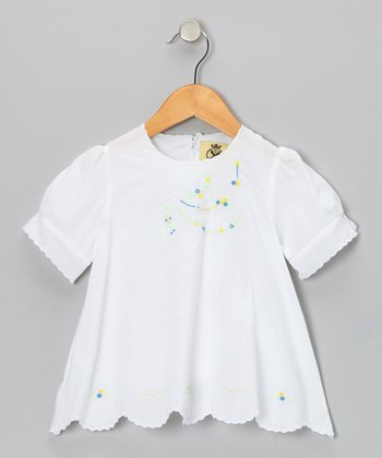 White Floral Embroidered Blouse - Infant & Toddler