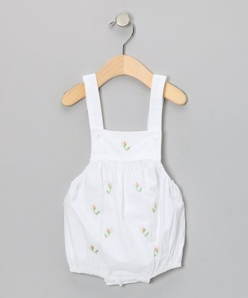 White & Pink Embroidered Bubble Bodysuit - Infant