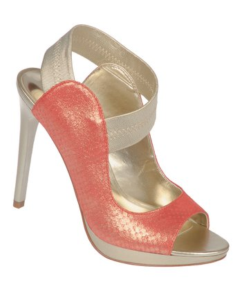 Coral Halo Peep-Toe Pump