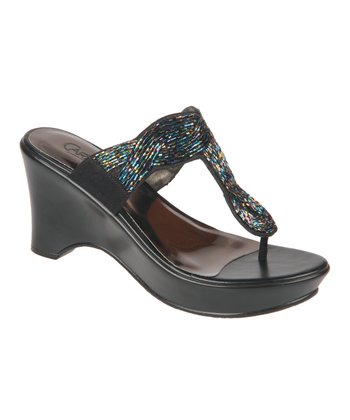 Black Campbell Wedge Sandal