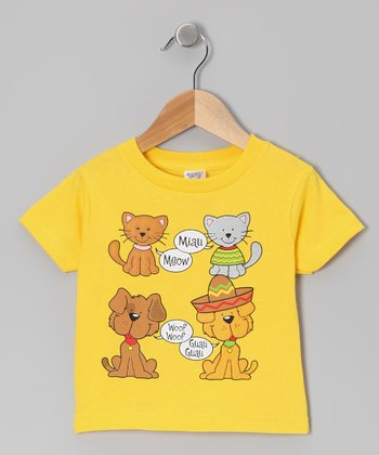 Yellow English & Spanish Animal Tee - Infant, Toddler & Kids
