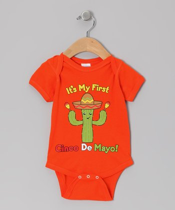 Orange 'It's My First Cinco de Mayo' Bodysuit - Infant