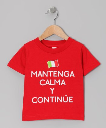 Red 'Mantenga Calma' Tee - Toddler & Kids