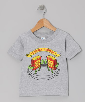 Athletic Heather 'Lucha Libros' Tee - Toddler & Kids