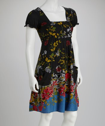 Black Floral Square Neck Dress - Women