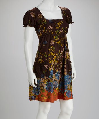 Brown Floral Square Neck Dress - Women