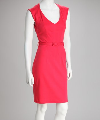 Red Belted Cap-Sleeve Dress