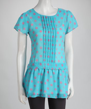 Blue Polka Dot Pin Tuck Tunic - Women