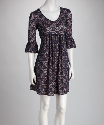 Pink & Navy Lace Bell-Sleeve Dress - Women