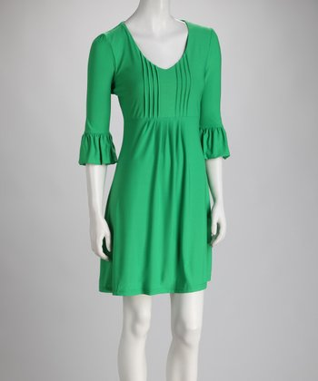Green Bell-Sleeve Scoop Neck Dress