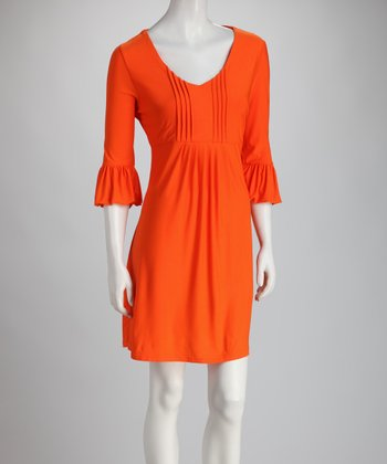 Orange Bell-Sleeve Scoop Neck Dress