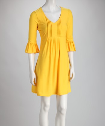 Yellow Bell-Sleeve Dress - Women
