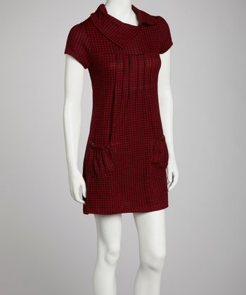 Burgundy Houndstooth Short-Sleeve Tunic
