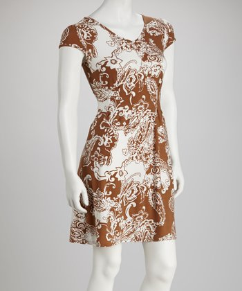 Brown Paisley Scoop Neck Dress - Women