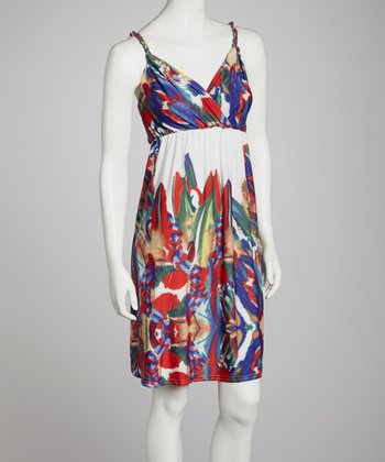 Red & Blue Abstract Surplice Dress - Women