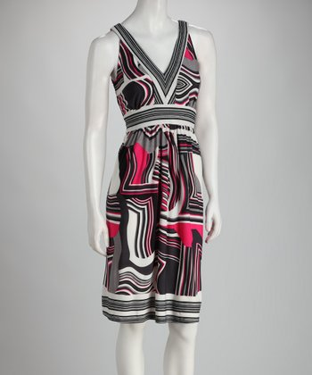 Pink & Gray Abstract V-Neck Dress - Women