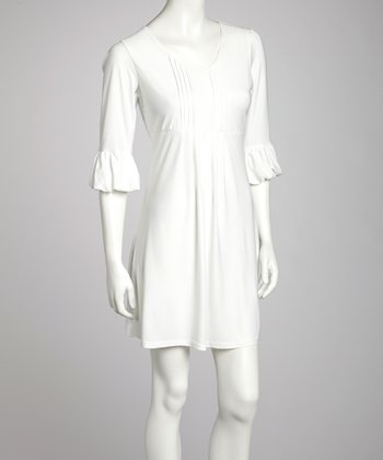 White Bell-Sleeve Dress - Women