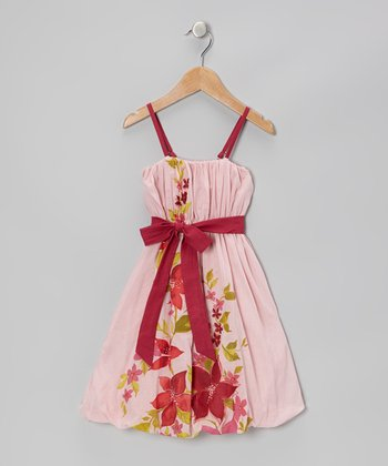 Blush & Magenta Floral Sash Dress - Toddler & Girls