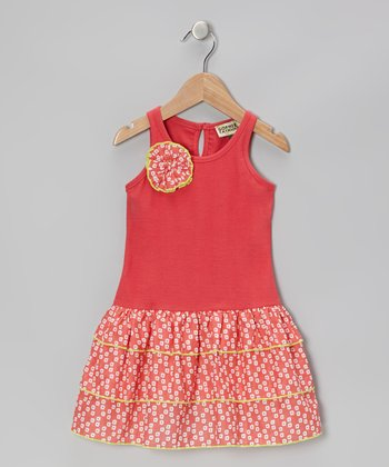 Coral Sunflower Ruffle Dress - Infant, Toddler & Girls