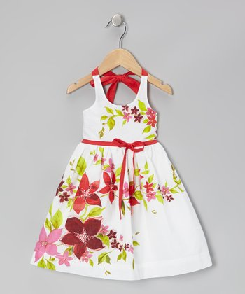 White & Red Floral Halter Dress - Infant, Toddler & Girls