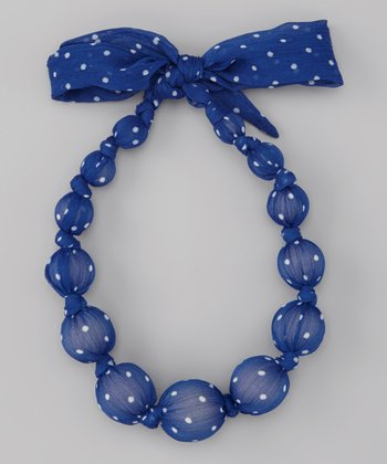 Blue Polka Dot Chiffon Beaded Necklace