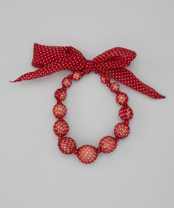Cherry Polka Dot Beaded Necklace