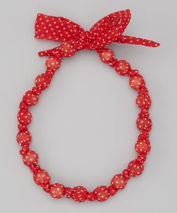 Red Polka Dot Beaded Necklace