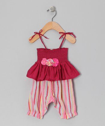 Maroon Stripe Skirted Playsuit - Infant