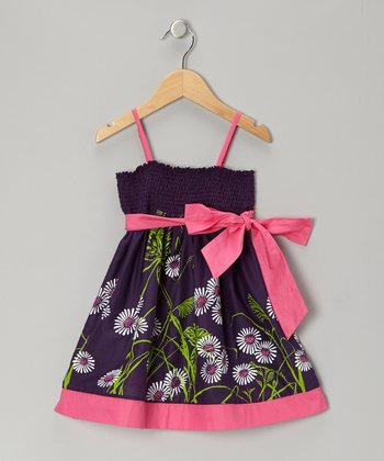 Purple Floral Shirred Dress - Girls