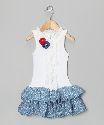 Blue & White Twiggie Bubble Dress - Infant, Toddler & Girls
