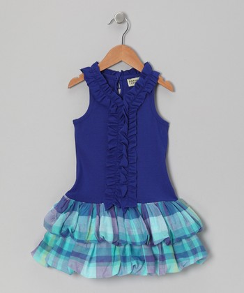 Royal Plaid Tiered Dress - Infant, Toddler & Girls