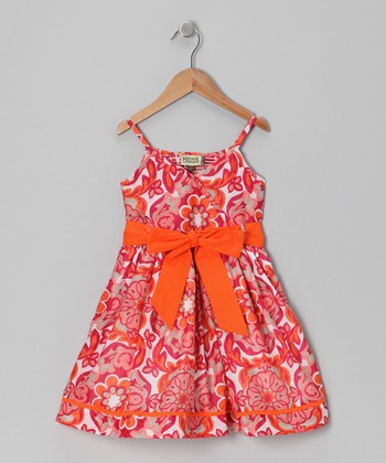 Orange Basilique Tie Dress - Infant, Toddler & Girls