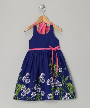 Royal Floral Halter Dress - Toddler & Girls