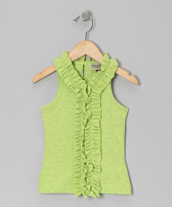 Lime Pop Ruffle Sleeveless Tank - Infant, Toddler & Girls