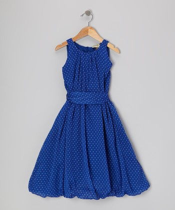 Blue Polka Dot Bubble Dress - Girls