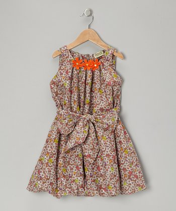 Brown Floral Bubble Dress - Toddler & Girls
