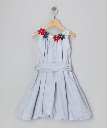 Blue Stripe Country Craft Flower Bubble Dress - Girls