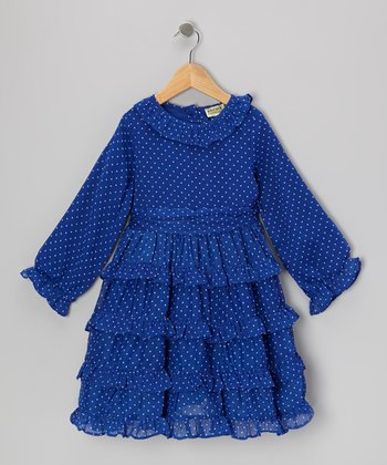 Blue Polka Dot Bacci Ruffle Dress - Toddler & Girls
