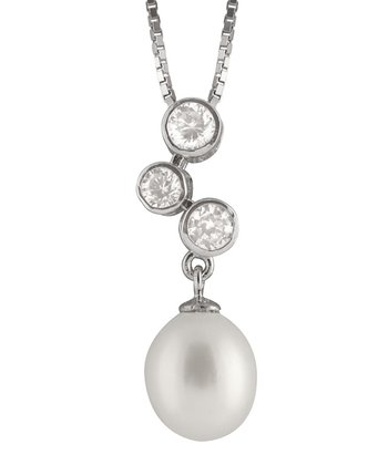 White Freshwater Pearl Triple Bezel Pendant Necklace